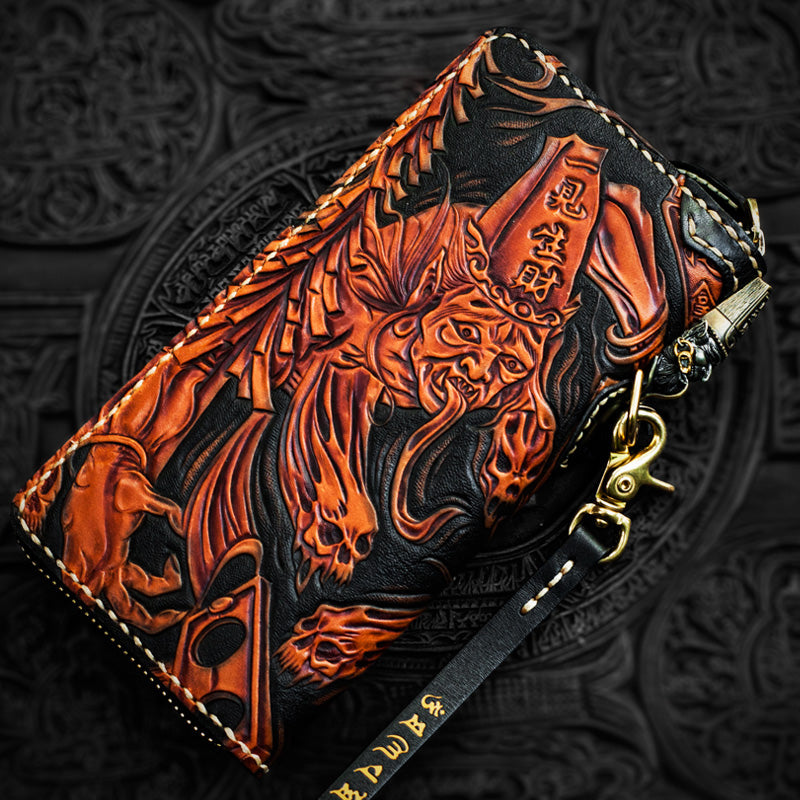 Handmade Leather Tooled Black and White Mens Chain Biker Wallet Cool Leather Wallet Long Phone Wallets for Men