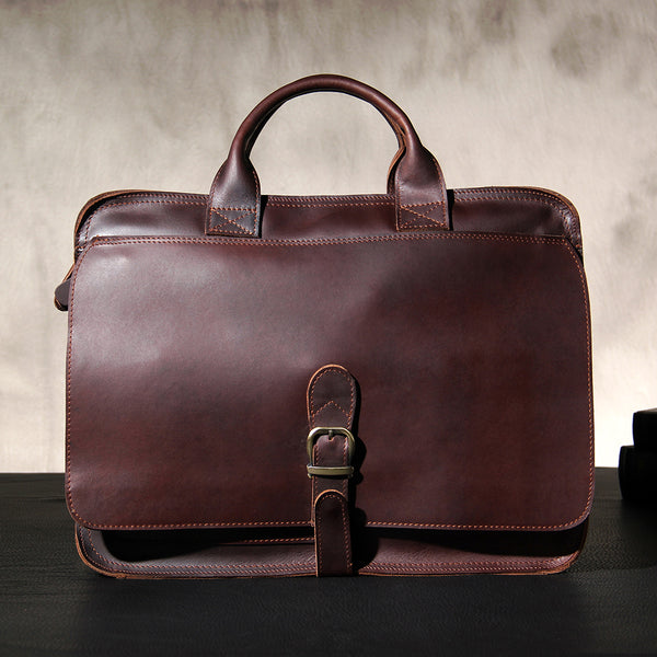 Leather Mens Coffee Briefcase Shoulder Bag Handbag Work Bag Business Bag for Men