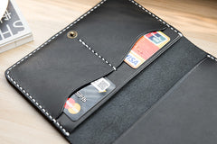 Handmade Leather Mens Travel Wallet Passport Leather Wallet Short Slim Wallets for Men