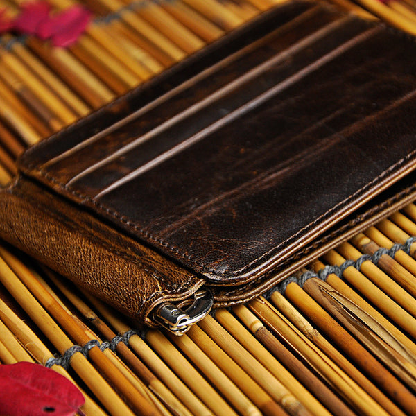 Genuine Leather Mens Cool Slim Leather Wallet Card Wallet Holders Men Front Pocket Wallet for Men