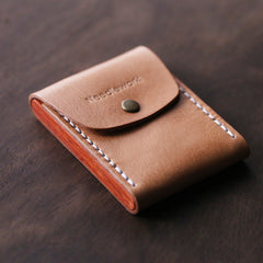 Cool Wooden Leather Mens Wallet Small Card Holder Handmade Coin Wallet for Men