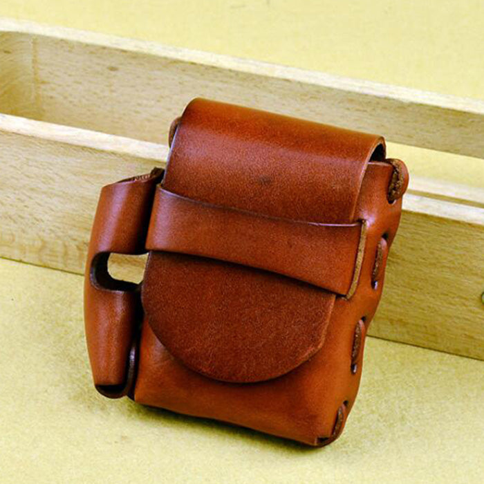 Handmade Leather Mens Cigarette Case with Belt Loop Cool Lighter Holder for Men