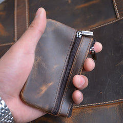 Genuine Leather Mens Wallet Cool Short Card Coin Holder Wallet Purse for Mens