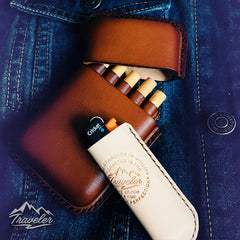 Beige Leather Mens Engraved Carp Cigarette Holder Case Vintage Custom Cigarette Case for Men