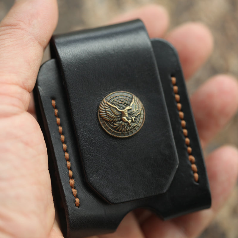 Cool Mens Leather Eagle Zippo Lighter Case with Loop Zippo lighter Holder with clip