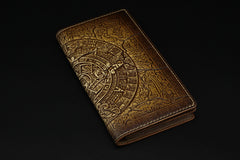 Handmade Leather Tooled Xiuhpohualli Calendar Mens Long Wallet Cool Leather Wallet Clutch Wallet for Men