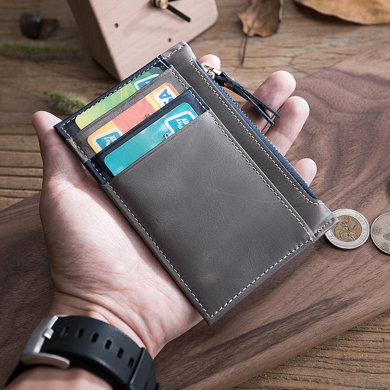 handmade leather mens cool short wallet card holder small