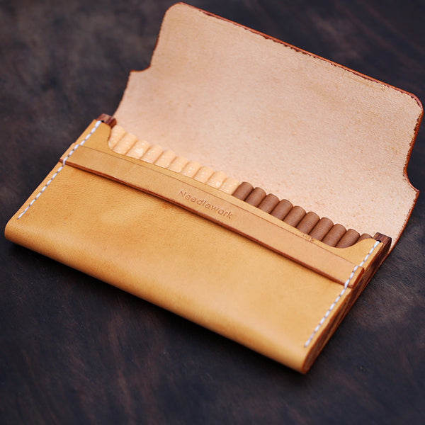 Cool Wooden Beige Slim Leather Mens 20pcs Cigarette Case Custom Beige Cigarette Holder for Men