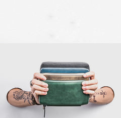 Handmade Leather Mens Cool Long Leather Wallet Bifold Zipper Clutch Wallet for Men