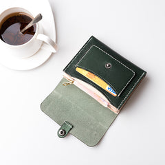 Handmade Leather Mens Cool Short Wallet Card Holder Small Card Wallets for Men Women