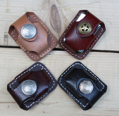 Cool Mens Leather Zippo Lighter Pouches with Loop Biker Zippo lighter cases with Clip