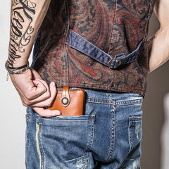 Handmade Mens Cool Short Leather Wallet Men Small Wallets Bifold for Men