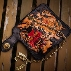 Handmade Leather Tooled Prajna Mens Chain Biker Wallet Cool Leather Wallet With Chain Wallets for Men