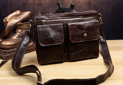 Genuine Leather Mens Cool Messenger Bag Clutch Bag Chest Bag Bike Bag Cycling Bag for men