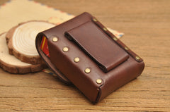 Vintage Cool Leather Mens Cigarette Case Cigarette Holder with Belt Loop for Men