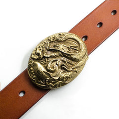 Handmade Genuine Leather Punk Rock Western Country Carp Chinese Dargon Mens Cool Men Biker Trucker Leather Belt