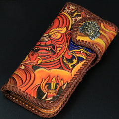 Handmade Mens Tooled God Mahakala Leather Chain Wallet Biker Trucker Wallet with Chain