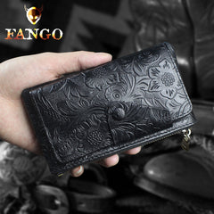 Handmade Leather Floral Mens Cool Key Wallet Wallet Card Holder Small Card Keychain Wallets for Men