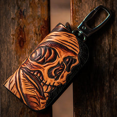 Handmade Leather Biker Mens Cool Car Key Wallet Coin Wallet Pouch Car KeyChain for Men