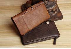 Handmade Leather Mens Cool Long Leather Wallet Card Wallet Clutch Wristlet Wallet for Men