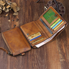Handmade Leather Mens Chain Biker Wallet Cool Leather Wallet Trifold billfold Wallets