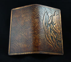 Handmade Leather Tooled Transformers Megatron Mens Long Wallet Cool Leather Wallet Clutch Wallet for Men