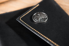 Handmade Leather Mens Clutch Cool Slim Wallet Envelope Clutch Wallet for Men