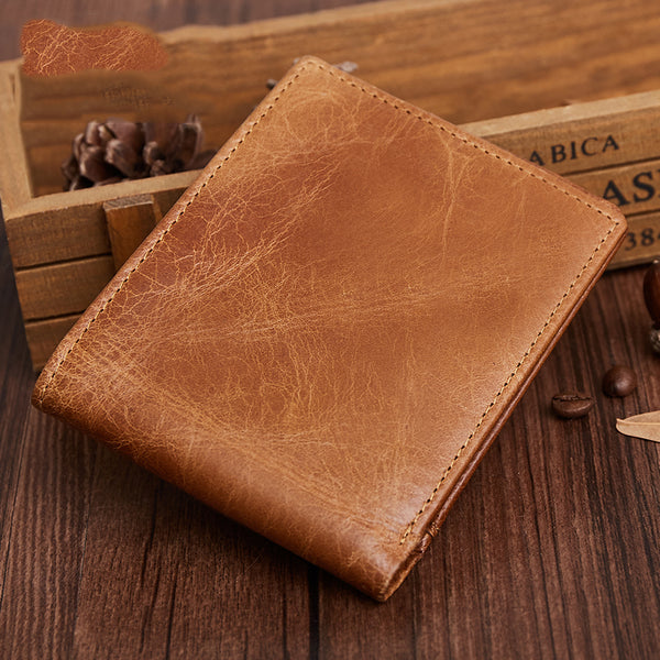 b8fa0cca384fd Genuine Leather Mens Wallet Cool Short Slim Bifold Wallet Card Coin Holder Wallet  Purse for Mens