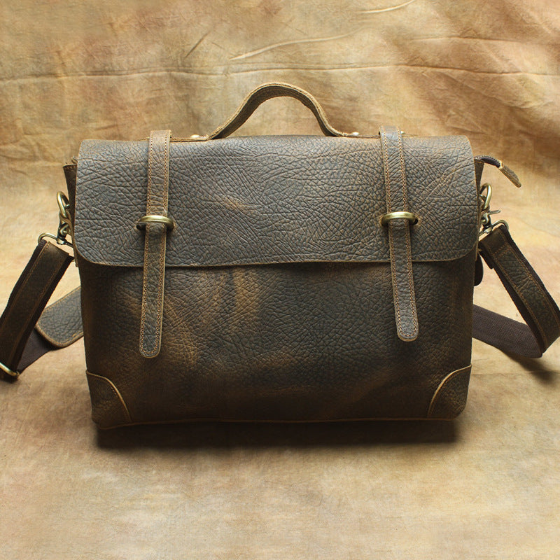 Vintage Mens Leather Briefcase Business Briefcase Work Bag Shoulder Bag For Men