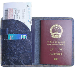 Handmade Leather Floral Mens Cool Travel Short Wallet Passport Card Holder Small Card Slim Wallets for Men