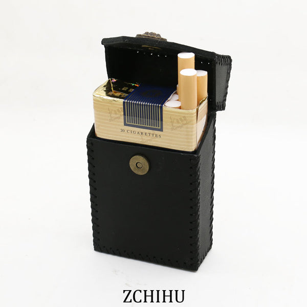 Handmade Leather Cigarette Holder Mens Black Cool Cigarette Holder Case for Men