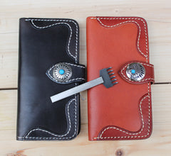 Handmade Vintage Leather Mens Long Wallet Cool Bifold Long Wallet for Men