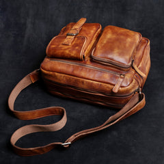 Genuine Leather Mens Cool Messenger Bag Chest Bag Bike Bag Cycling Bag for men