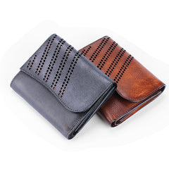 Handmade Mens Cool Short Leather Wallet Men Small Zipper Wallets Trifold for Men