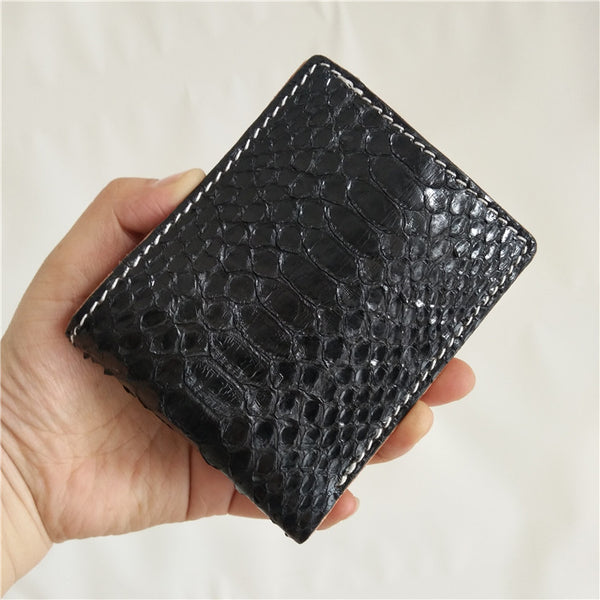 [On Sale] Handmade Cool Mens Snake Skin Small Wallet Slim Short Wallets with Zippers