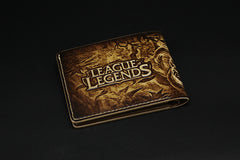 Handmade Leather Tooled League of Legends LOL Ahri the Nine-Tailed Fox Mens Short Wallet Cool Leather Wallet Slim Wallet for Men