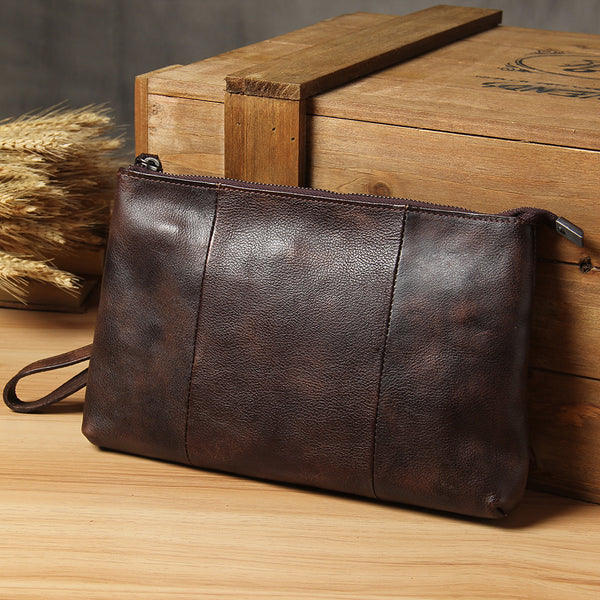 Cool Leather Mens Clutch Wristlet Bag Handmade Vintage Zipper Clutch for Men