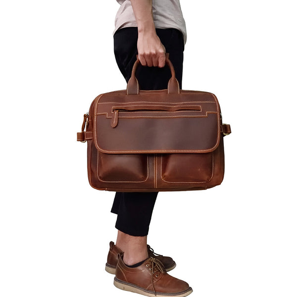 Vintage Cool Leather Briefcase Handbag Business Briefecases Shoulder Bag for men
