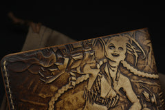 Handmade Leather Tooled League of Legends LOL Jinx Mens Short Wallet Cool Leather Wallet Slim Wallet for Men