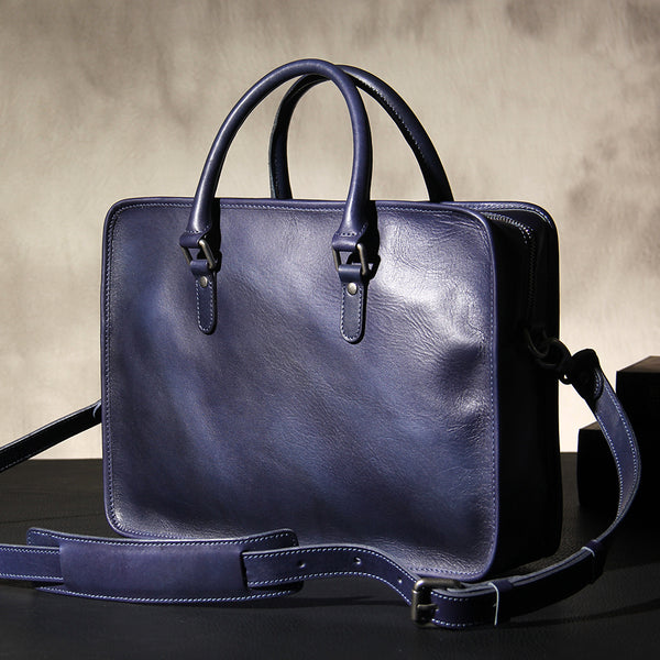 Leather Mens Blue Briefcase Shoulder Bag Handbag Work Bag Laptop Bag Business Bag for Men