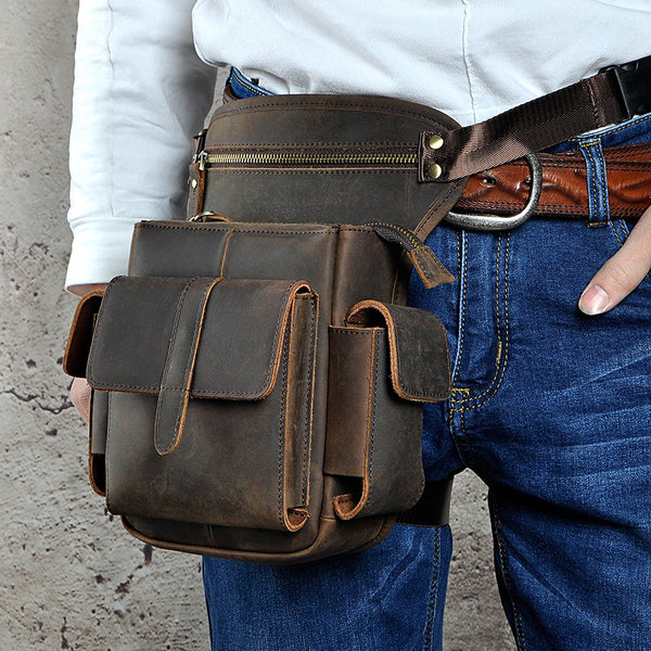 Cool Leather Mens Drop Leg Bag Belt Pouch Bag HIP PACK Waist Bag Shouder Bags For Men