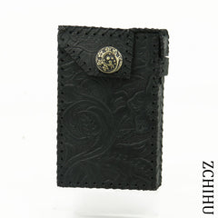 Cool Leather Mens Black Cigarette Holder Case Handmade Engraved Cigarette Holder for Men