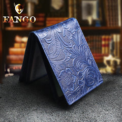 Handmade Leather Floral Mens License Wallets Cool billfold Wallet Card Holder Small Card Slim Wallets for Men