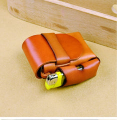 Cool Handmade Leather Mens Cigarette Case with Belt Loop Lighter Holder for Men