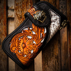 Handmade Leather Tooled Floral Mens Chain Biker Wallet Cool Leather Wallet With Chain Wallets for Men