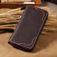 Cool Handmade Leather Mens Clutch Vintage Zipper Wallet for Men