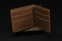 Handmade Leather Tooled League of Legends LOL Ezreal the Prodigal Explorer Mens Short Wallet Cool Leather Wallet Slim Wallet for Men