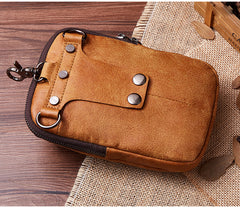 Leather Belt Pouch Mens Small Cases Waist Bag Hip Pack Belt Bag Fanny Pack Bumbag for Men
