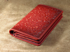 Handmade Leather Tooled Trifold Henna Floral Mens Long Wallet Cool Leather Wallet Clutch Wallet for Men