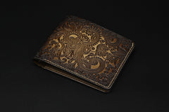 Handmade Leather Tooled Henna Floral Mens billfold Wallet Cool Leather Wallet Slim Wallet for Men